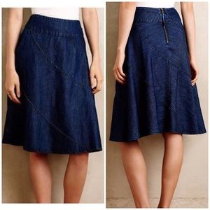 Maeve Anthropologie Denim Circle Skirt 10 blue